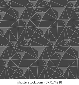 simple pattern of triangles , which are connected to each other thread , made in shades of gray .