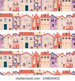 Simple pattern with vintage houses, old streets, urban landscape.