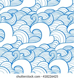 simple pattern of waves, lines drawn in blue and white tones