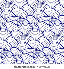 simple pattern of waves, lines drawn in blue tones