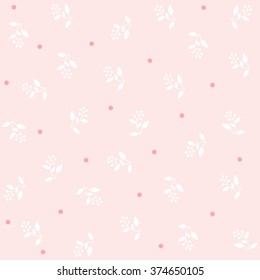 Simple pattern. White branches with berries and a set of small circles on a light pink background. Vector stock.