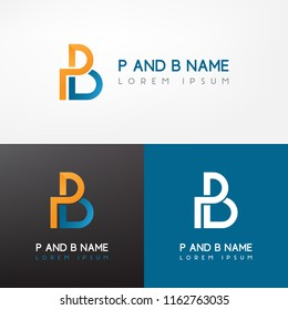 Simple PB lettering logo for branding identity. Vector image.
