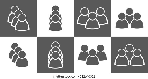 simple people icon set in black and grey colors vector illustration