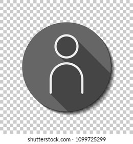 Simple person icon. Linear symbol, thin outline. flat icon, long shadow, circle, transparent grid. Badge or sticker style