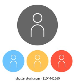 Simple person icon. Linear symbol, thin outline. Set of white icons on colored circles