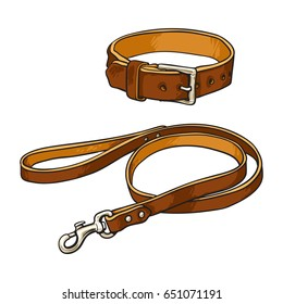 Simple pet, cat, dog buckle collar and leash made of thick brown leather, sketch vector illustration isolated on white background. Hand drawn brown leather leash, lead and collar for pets, dogs, cats
