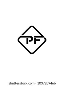 Simple PF initial Logo design template vector illustration