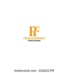 Simple PF Logo Design Vector