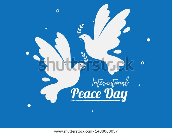 Simple Pigeon with leaf symbol of Peace. International Peace Day