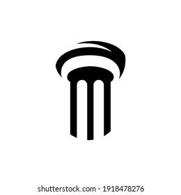 Simple pillar flat logo template in black color