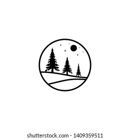 Simple pine trees line art logo