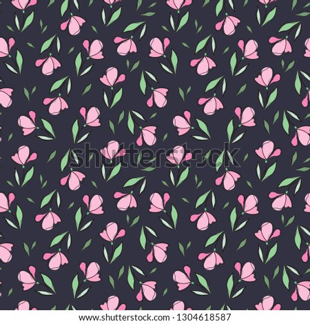 Simple Pink Flowers Background Vector Illustration Stock
