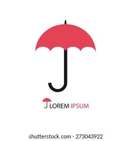 Simple pink umbrella as logo on white background