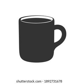 Simple plain ceramic mug with drink silhouette template. Modern minimal flat clip art vector illustration design.