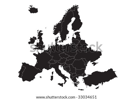 Simple Plain Political Map Europe Vector Stock Vector Royalty Free