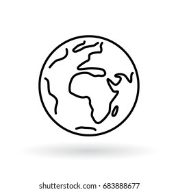 Simple planet icon. Earth sign. World symbol. Thin line icon on white background. Vector illustration.