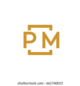 Simple PM initial Logo designs template vector illustration