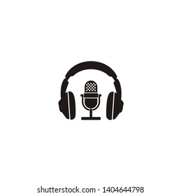 Simple Podcast / Radio Logo design using Microphone and Headphone icon
