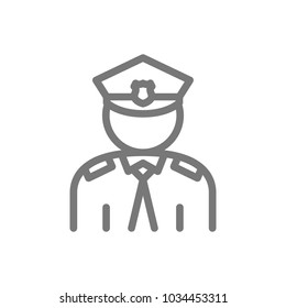 Simple police, officer, cop line icon. Symbol and sign vector illustration design. Isolated on white background