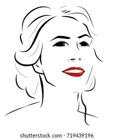 Simple Portrait of a beautiful woman with red lips