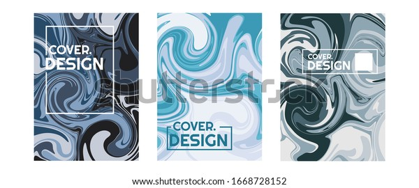 simple portrait design with colorful black, blue, and white liquid flow. This design is suitable for psychedelic art purpose. good use vector for template book cover, brochure, flyer, and poster.