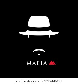 Simple portrait of Italian mafioso in hat. Vector man icon.