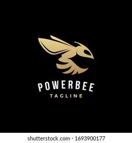 Simple powerful bee logo icon illustration on black background