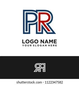 Simple PR initial Logo design template vector illustration