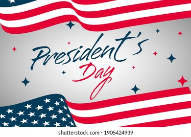 Simple presidents day banner concept with usa flag background design