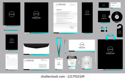 Simple Professional Corporate Identity Set. Stationery Blank Template Design Kit. Branding Template Editable for Business Company finance vector