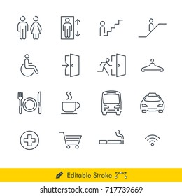 Simple Public Navigation Signs Icons / Vectors Set - In Line / Stroke Design with Editable Stroke
