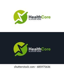 simple pulse logo template, Simple HealthCare logo template, Health Center Logo designs vector illustration