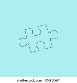 Simple puzzle. Simple outline flat vector icon isolated on blue background