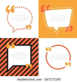 Simple quote bubble. Empty text icon template. Balloon template set. Vector illustration.