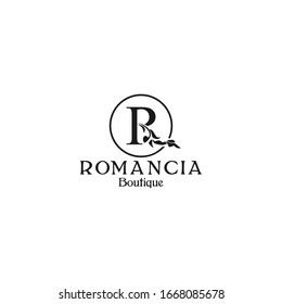 Simple R letter with nature leaf ornament vector in black color. Initial logo template. boutique icon design inspiration.