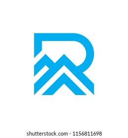 Simple R logo for Ridge, Roof shape, minimalist and flat letter R logo .vector