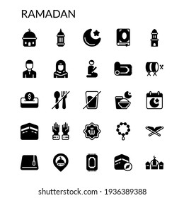 Simple Ramadan Icon Set Solid Style Contain Such Icon as Mosque, Fasting, Kaaba, Quran, Holy Book, Praying, Islam, Religion, Culture, Arabic, Arab, Muslim, Hijab and more. 64 x 64 Pixel Perfect