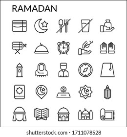 Simple Ramadan Line Style Contain Such Icon as Mosque, Islam, Islamic,  fasting, Alarm, Cap, Muslim, Hijab, Holy Book, Religion and more. 64 x 64 Pixel Perfect