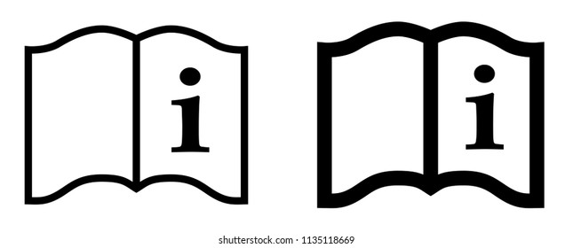 "Simple ""read instructions"" icon. Letter i on page of a book, 2 different stroke weights versions."