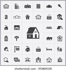 Simple real estate icons set. Universal real estate icon to use for web and mobile UI, set of basic real estate elements