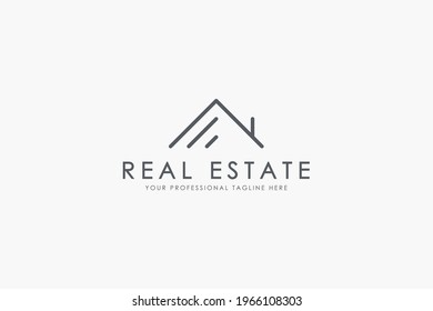 Simple Real Estate Logo. Retro Geometric Linear Style House Symbol isolated on White Background. Flat Vector Illustration Usable for Construction Architecture Building Logo Design Template Elements.
