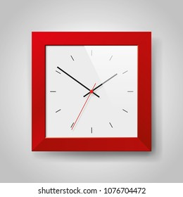 Simple realistic Clock in squre red frame on light gray background. Watch on the wall. Vector design object