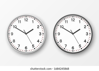 Simple realistic round 3D black and white office wall clock with white face. Isolated vector icon set design template mockup for Branding, Advertisement. Closeup Front or Top View