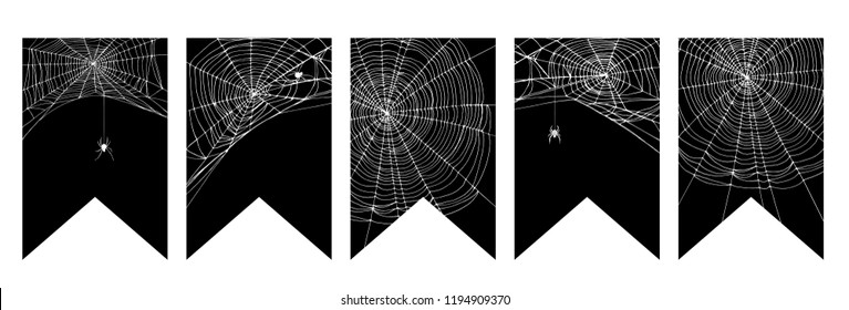 Simple Realistic White Spider Web Vector Bunting Flags. Halloween Vector Garland. White Cobweb on a Black Background. Realistic Cobweb with Spiders. Scary Spiderweb Motif Halloween Vector Decoration.
