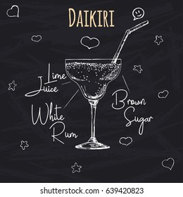 Simple recipe for an alcoholic cocktail Daikiri. Drawing chalk on a blackboard. Vector illustration of a sketch style.