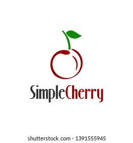 simple red cherry logo vector