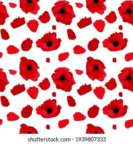 Simple red flower poppy set Vector Illustration EPS10