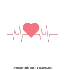 Simple red heartbeat, graphic design, high resoultion, isolated on white background EPS Vector