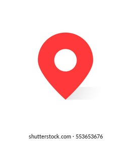 simple red map pin with shadow. concept of global coordinate, dot, needle tip, positioning pictogram, user interface element label, ui. flat style trend modern brand graphic design on white background