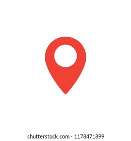 Simple red pin for navigation system. Pin for the map icon. Pin symbol.
